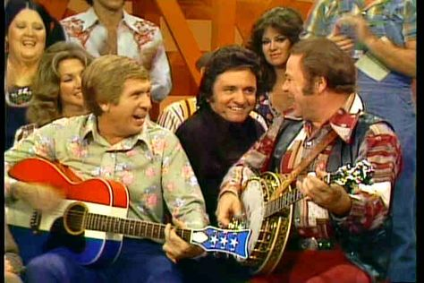 Buck Owens, Johnny Cash, and Roy Clark on HeeHaw (1975) -- I grew up on HeeHaw reruns.