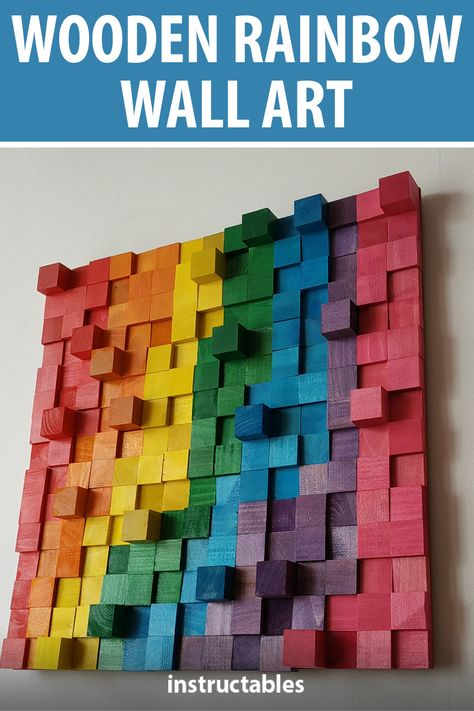 Create unique pieces of wooden rainbow art by coloring blocks of wood at different thicknesses and arranging them on a board. #Instructables #woodworking #decor #home #workshop