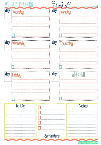 Week At a Glance Form Homeschool, Planners and Free - day to day planner template free