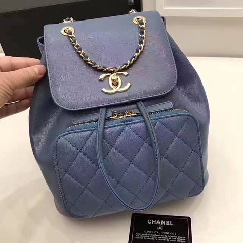 c793247a68c Chanel Grained Calfskin Business Affinity Backpack Bag A93748 Blue 2017