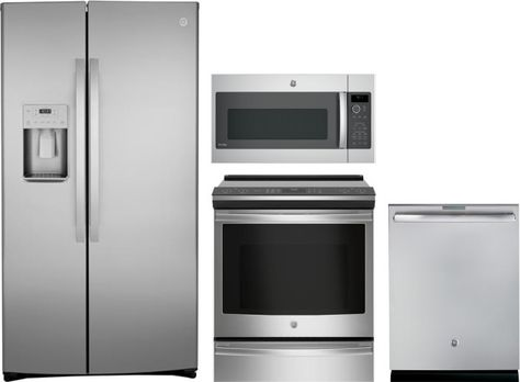 Ge 4 Piece Kitchen Appliances Package With Side By Side