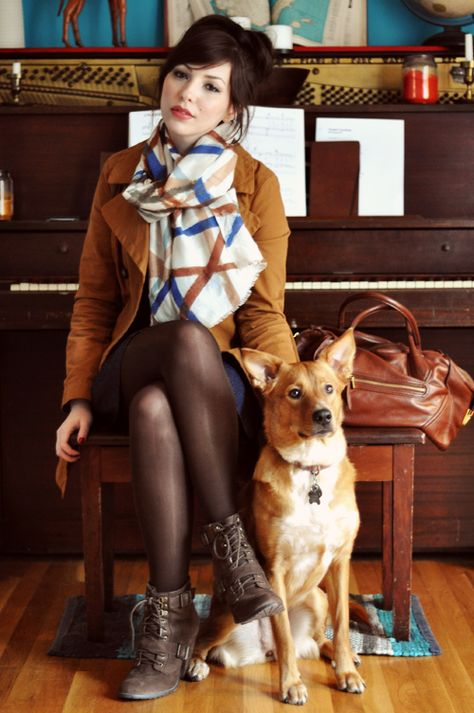 Gorgeous outfit, but especially love the dog and the piano!