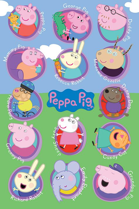 Peppa Pig Cast : peppa, Peppa, Multi, Characters, Poster, (575), Pictures,, Drawing,, Stickers