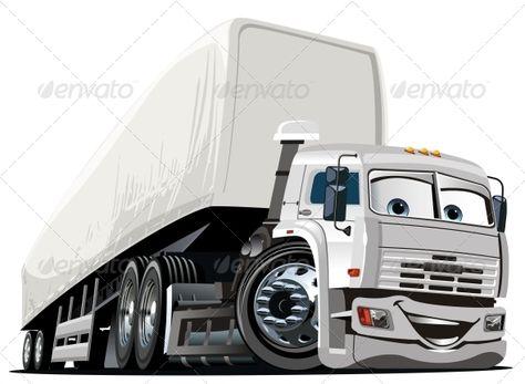 Vector Cartoon Semi Truck Car Cartoon Truck Detailing Trucks