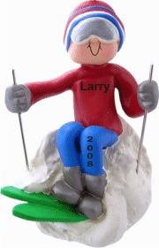 Star of the Slopes! Ski Male Christmas Ornament