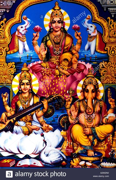 Download This Stock Image Lakshmi Ganesh And Saraswati Hindu Gods A2w2n0 From Alamy S Library Of Millions Of High Resolution Stock Photos In 2019 Ganesh Deities God