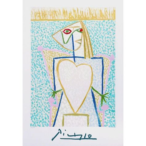 """1982 """"Femme Au Buste en Coeur"""" Limited Edition Lithograph After Pablo Picasso"""