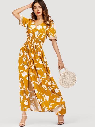 471f9be36ae10 V Neckline Floral Print Split Dress   Shein Fashion Style   Dresses ...