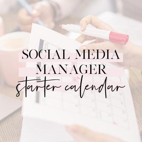 Social Media Manager Starter Calendar Template