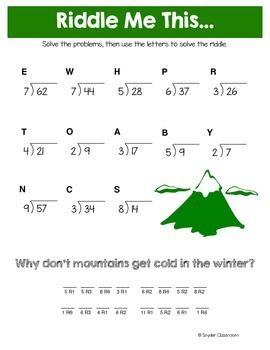 Winter Long Division Math Riddles Math Riddles Math Division Long Division Easy long division worksheets grade 3
