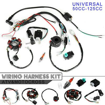 50cc 125cc Mini Atv Complete Wiring Harness Cdi Stator 6 Coil Pole Ignition Kit Ebay 50cc Atv Atv Quads