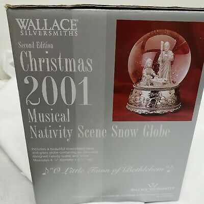 Babys Second Christmas Globe 2020 2001 Wallace SilverSmiths Christmas Musical Nativity Scene Snow