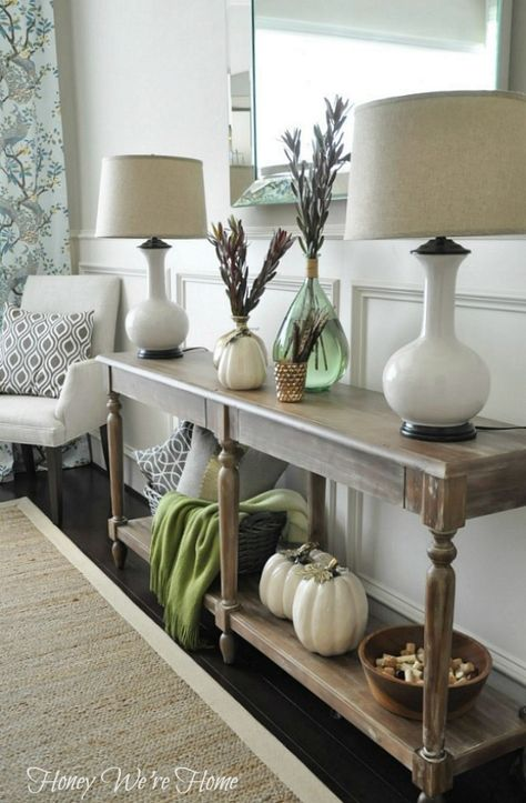 I love me some white pumpkins for Fall Decor! Console Table from World Market, WANT!