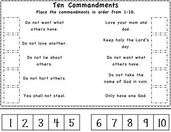 Ten Commandments For Kids Printable Worksheets