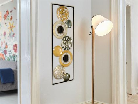 Wandbild MIRROR CIRCLES Spiegel Kreise silber aus Metall Glas Forman Wanddeko