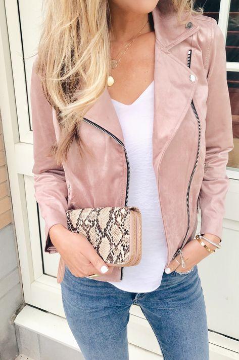4 Ways to Style a Pink Moto Jacket - Pinteresting Plans Blog