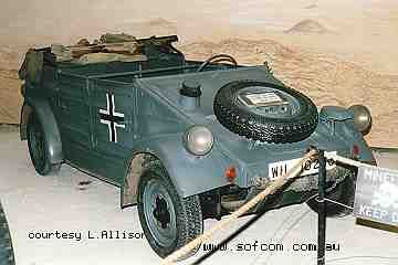 "Volkswagen made approximately 52,000 Kubelwagens for the German Army in the 1930s and during World War II. The Kubelwagen is rear engined and rear wheel drive - 4x2 only - based on the famous Volkswagen people's car or ""VW Beetle"". As such its offroad performance was no match for the four wheel drive Jeep MB."