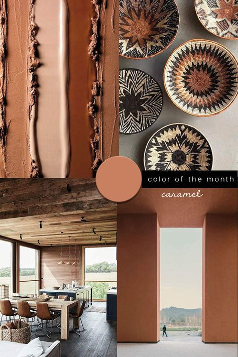 INTERIOR COLOR TRENDS 2020 : Brown caramel interiors and design