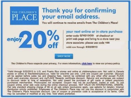 20% off $40 The Children's Place Coupon | Printable Coupons | Pinterest |  Printable coupons and Coupons