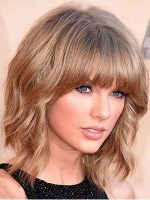 Taylor Swift Medium Bob Wellig Frisur Capless Menschenhaar Perucke