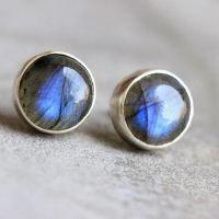 Natural Labradorite earrings Stud earrings Round by