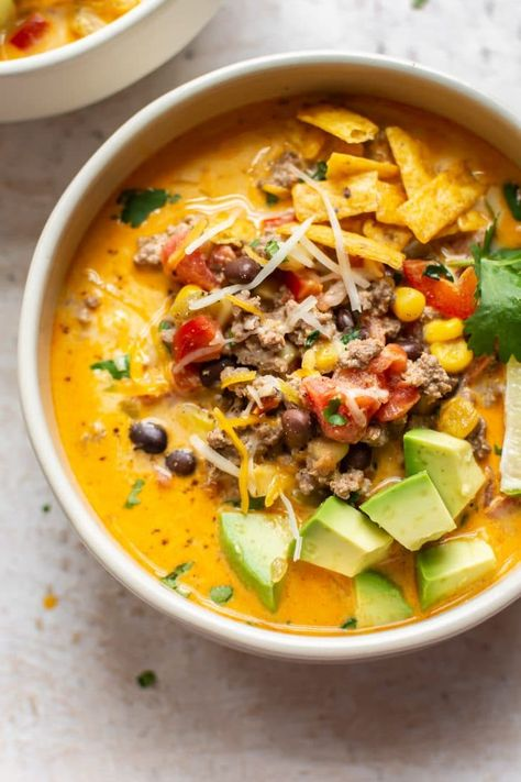 This easy creamy taco soup with cream cheese and ground beef is sure to become a. This easy creamy taco soup with cream cheese and ground beef is sure to become a family favorite. Healthy Soup Recipes, Mexican Food Recipes, Cooking Recipes, Beef Soup Recipes, Taco Stew Recipe, Chili Recipes, Quick Recipes, Recipes Dinner, Crockpot Recipes