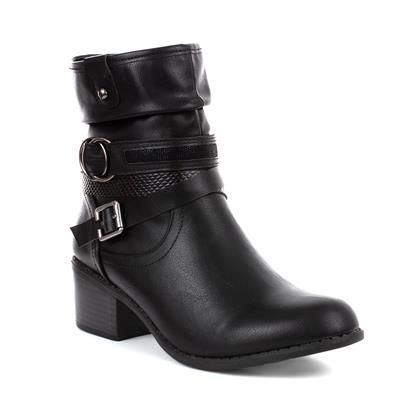 Lilley Womens Black Ankle Boot Textured