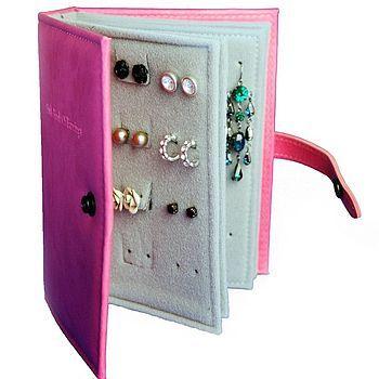 travel earring book:  felt, cardboard, hot glue and hole puncher.