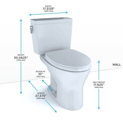 Toto Drake Dual Flush Elongated Two Piece Toilet With High Efficiency Flush Seat Included Rough In Size 1 Washlet Toto Toilet Toto