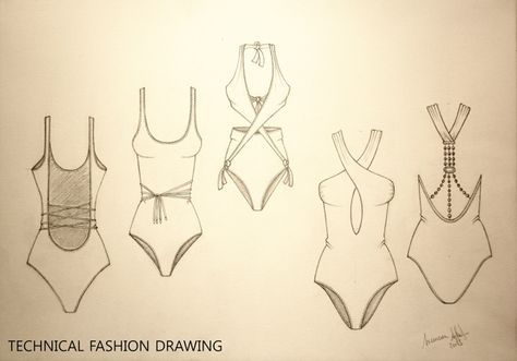Technical Fashion Drawing 'Beachwear' gives me a idea of what my design sketches should look like