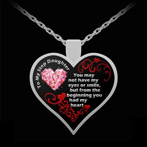 Adopted Daughter Necklace - Bonus Stepdaughter Jewelry - Gift Heart Love Pendant Pendant (Choice of