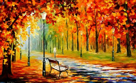 "SILENCE OF THE FALL — PALETTE KNIFE Oil Painting On Canvas By Leonid Afremov - Size 24""x40"""