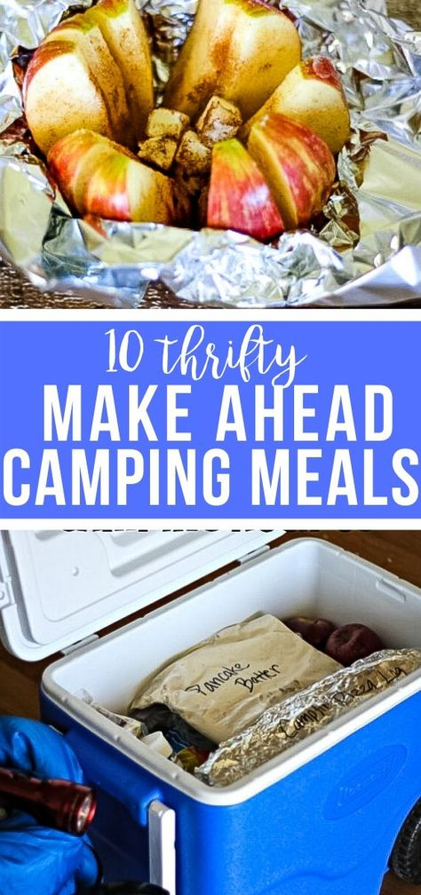 Here are 10 easy and cheap camping meals of omelets, pancakes, campfire pizza and sandwiches, Don't forget dessert of campfire eclairs and baked apples! Camping Food Make Ahead, Vw Camping, Camping Menu, Camping Dinner Ideas, Camping Tips, Camping Cooking, Healthy Camping Meals, Family Camping, Glamping