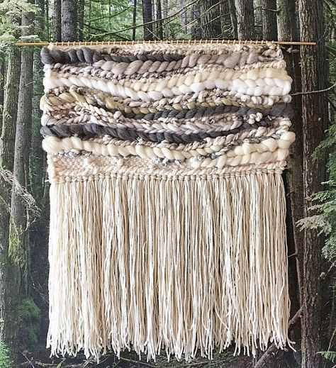 large woven wall hanging large weaving statement by PineapplePhi More