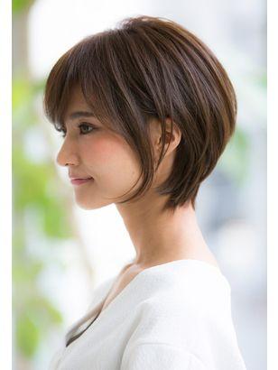 2019年春 ショート 黒髪 オフィス コンサバ ストレートパーマ 縮毛