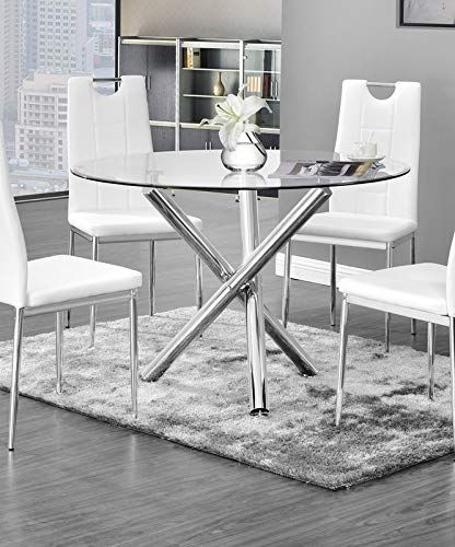 Chrome Base Round Dining Table Dining Table With Glass Top Silver Glass Round Dining Table Glass Top Dining Table Round Dining Table