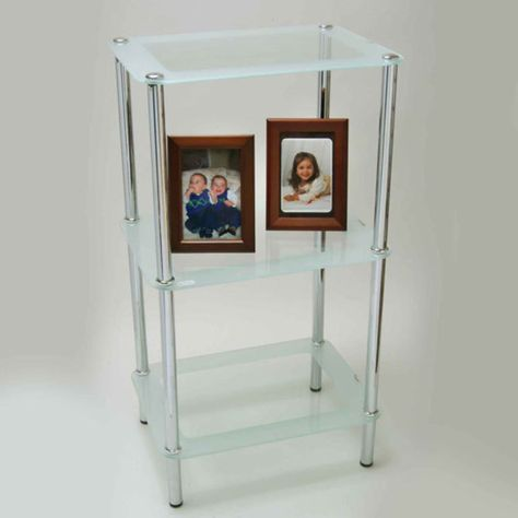 Novel - 3-Tier Chrome Rectangular Frosted Glass Stand