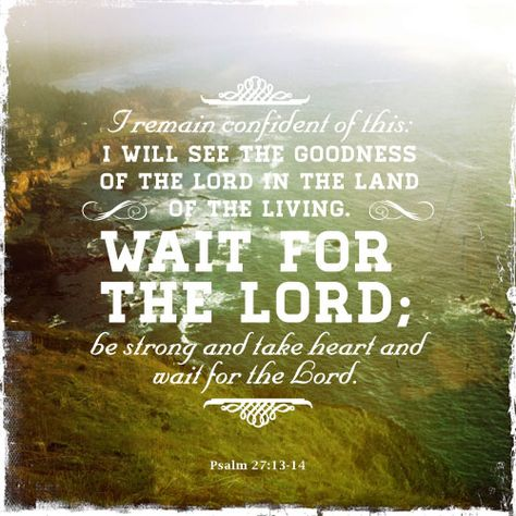 """""""I am still confident of this; I will see the goodness of the Lord in the land of the living. Wait for the Lord; be strong and take heart and wait for the Lord.' Psalm 27:13-14"""