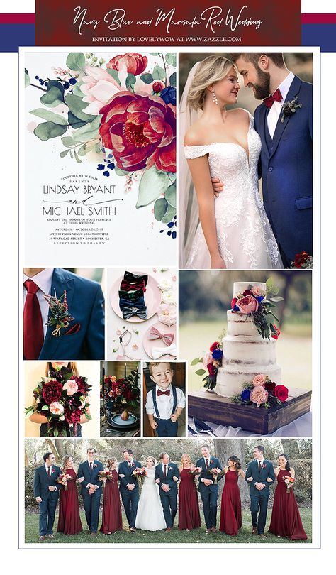 Marsala Red and Navy Blue Wedding Ideas
