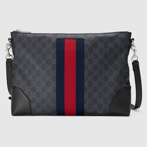 ad88c6ea2e8 Shop the GG Supreme messenger by Gucci. A flat messenger bag with removable  shoulder strap