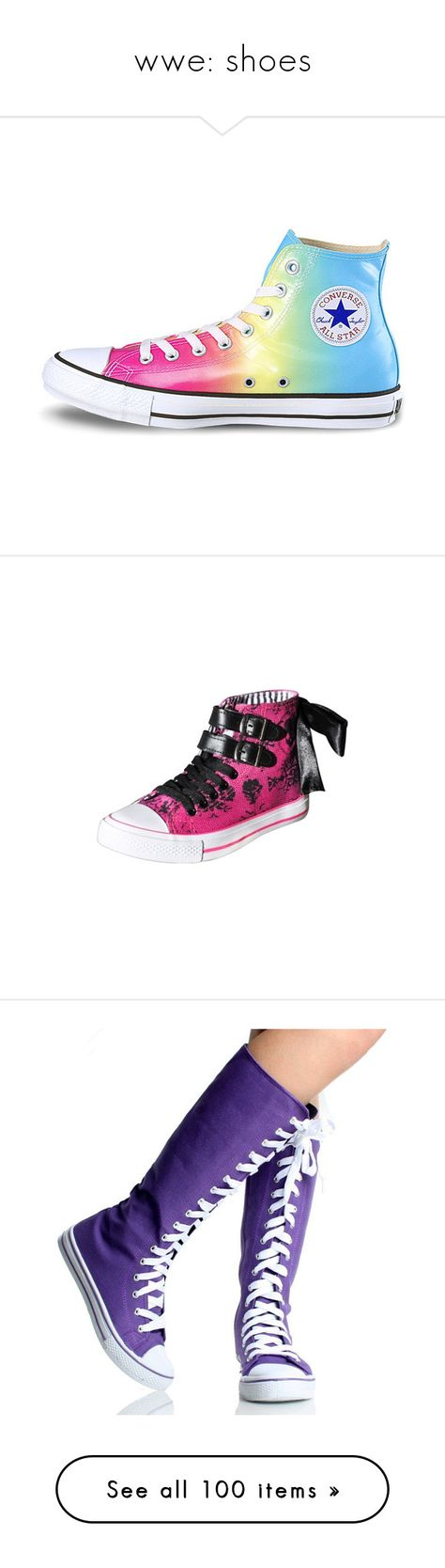 """""""wwe: shoes"""" by zmobieunicorn ❤ liked on Polyvore featuring shoes, sneakers, converse, 18. converse., converse shoes, converse sneakers, converse footwear, converse trainers, iron fist sneakers and high top shoes"""