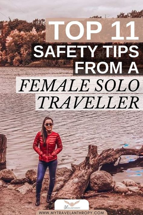 These 11 tips will help ensure that you stay as safe as possible as you travel abroad, from an experienced female solo traveller! Click through and learn more at www.mytravelanthropy.com  #femalesolotravel #globaltravel