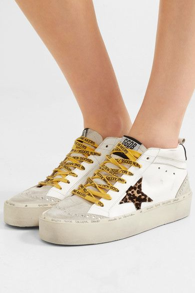 White Hi Mid Star Distressed Leather Suede And Leopard Print Calf Hair Sneakers Golden Goose Sneakers Distressed Leather Calves