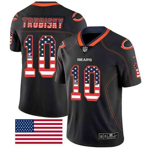 Nike Chicago Bears  10 Mitchell Trubisky Black Men s Stitched NFL Limited  Rush USA Flag Jersey 65fec4428