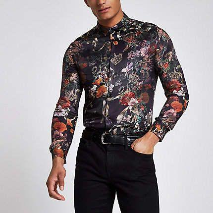 Black floral button down shirt | Floral button up, Fashion