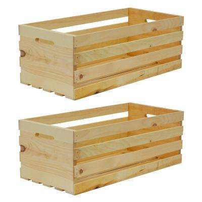 27 In X 12 5 In X 9 5 In X Large Wood Crate 2 Pack Wood Crates Crates Pallet Diy