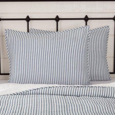 Ticking Stripe Bedding, Farmhouse Blue Ticking Bedding