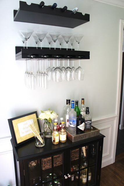 Verona buffet, Ikea lack shelves w/ wine glass storage underneath ...