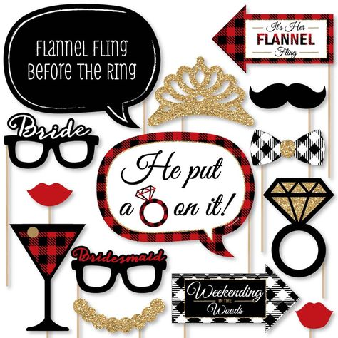 20-Piece Bachelorette Photo Booth Props Kit INCLUDES 20 Flannel Fling Before The Ring photo booth props, 20 wooden dowel sticks and adhesives for assembly. EASY ASSEMBLY: Simply attach the printed DIY photo booth props to the wooden dowels with included adhesive and reinforcing stickers. PERFECT FOR ANY CROWD! Photo booth props are fun Flannel Bachelorette party supplies for adults and kids - everyone will love the funny faces on these Flannel Fling Before The Ring Bachelorette photo booth props Bachelorette Photo Booth, Bachelorette Decorations, Bachelorette Party Supplies, Bachelorette Weekend, Bachelorette Party Checklist, Funny Photo Booth, Diy Photo Booth Props, Newlywed Game Questions, Bridal Shower Questions