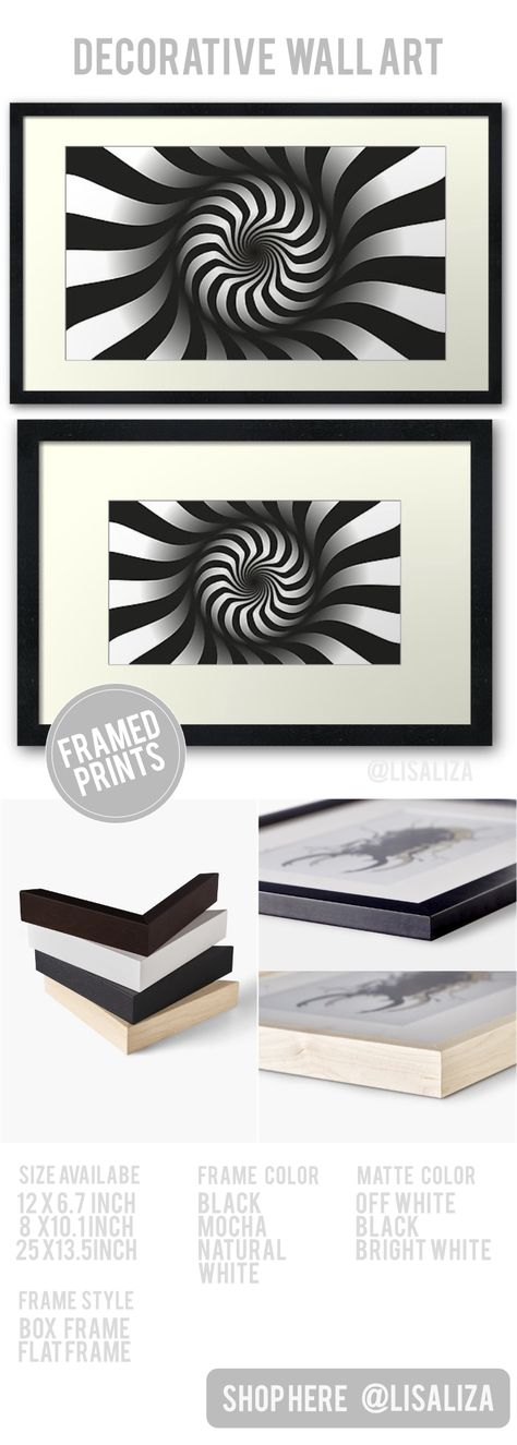 'Abstract Arts Black White illusion Pattern' Framed Print by LisaLiza